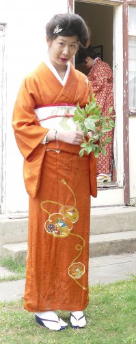Orange Houmongi Kimono Rental