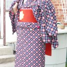 Blue and Red Kimono and Haori Rental