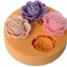 4 flowers cake soap silicone mold