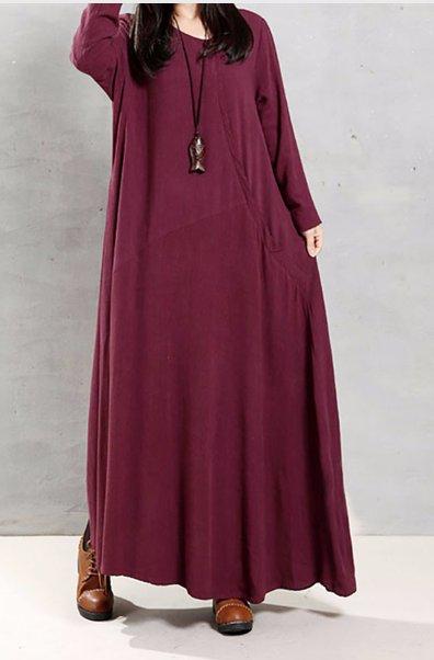 WOMEN LONG SLEEVE LOOSE SIZED DRESS