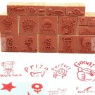 16 pieces wooden stamp set