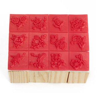 12 pieces wooden stamp set