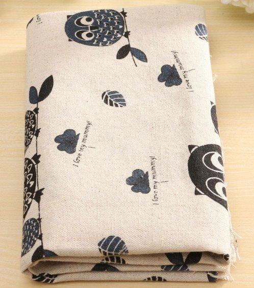 1 piece owl Cotton Linen Cloth