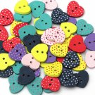 50pcs heart wooden buttons
