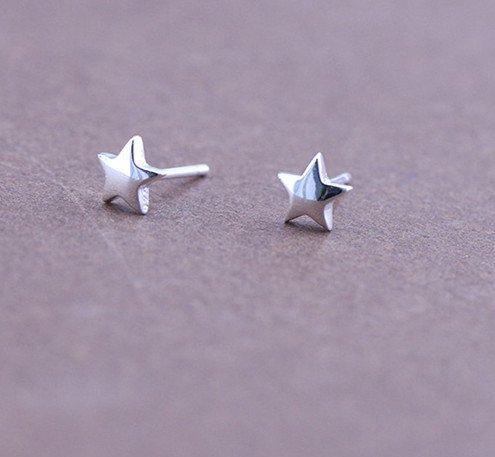 silver glazed star earring