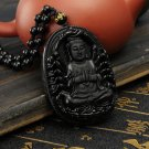 black buddha head charm necklace