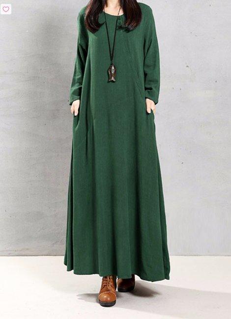 Cotton Loose Long Sleeve Maxi Dress