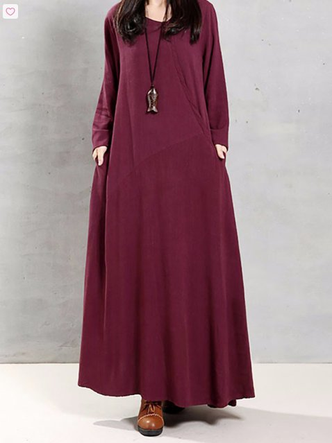 Cotton Loose Long Sleeve Maxi Dress