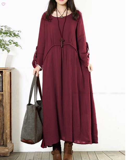 long sleeved loose elegant dress