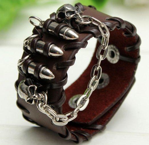 skull head black leather punk bracelet