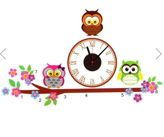 owl clock home decor wall sticker
