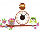 owl clock home decor wall sticker