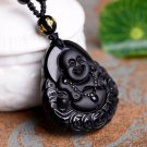 buddha smile luckily face black necklace
