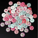 80PCS wooden button