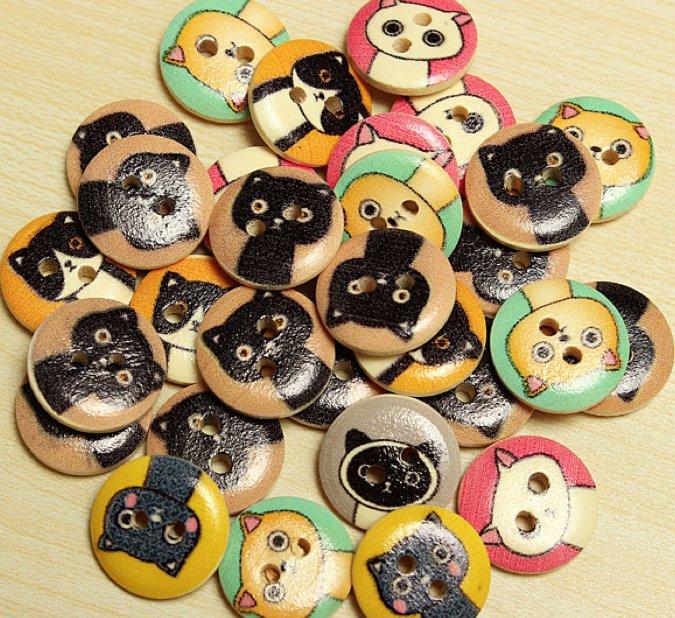 80pcs wooden animals buttons