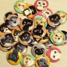 80pcs wooden animals buttons