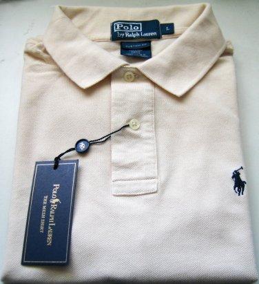 Ralph Lauren Men's Custom Fit Short Sleeve Polo Mesh Shirt Cream XL