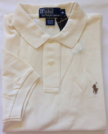 Ralph Lauren Men's Classic Fit Short Sleeve Polo Mesh Shirt, Size M, Chic Cream