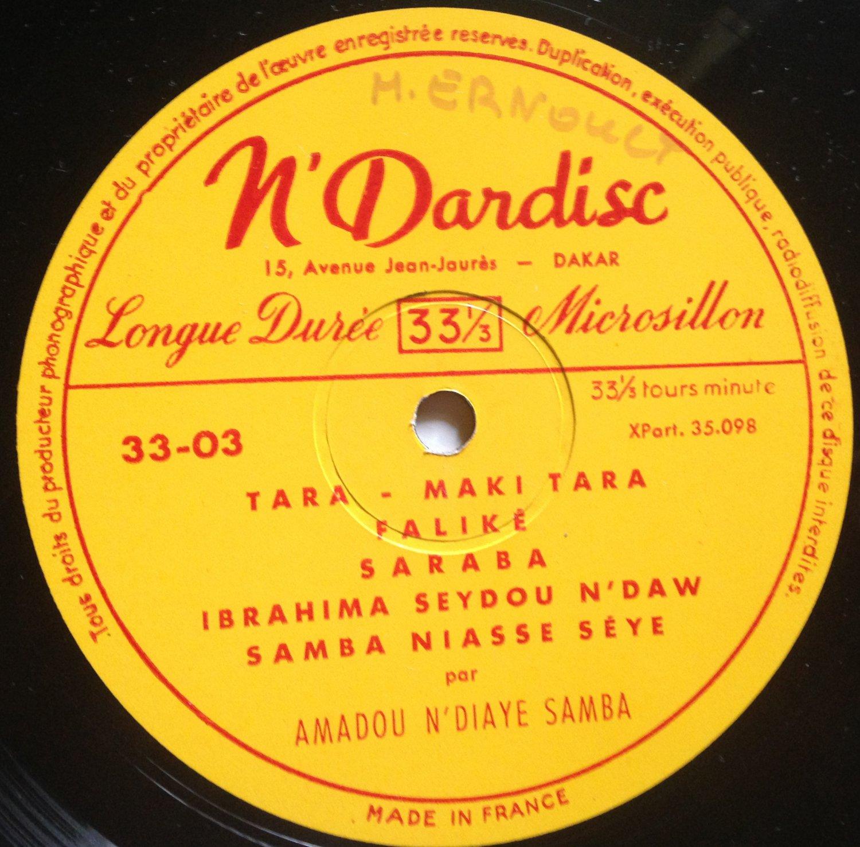 """DIABOU SECK & AMADOU N'DIAYE SAMBA 10"""" RARE N'DARDISC RARE 1964 mp3 LISTEN"""