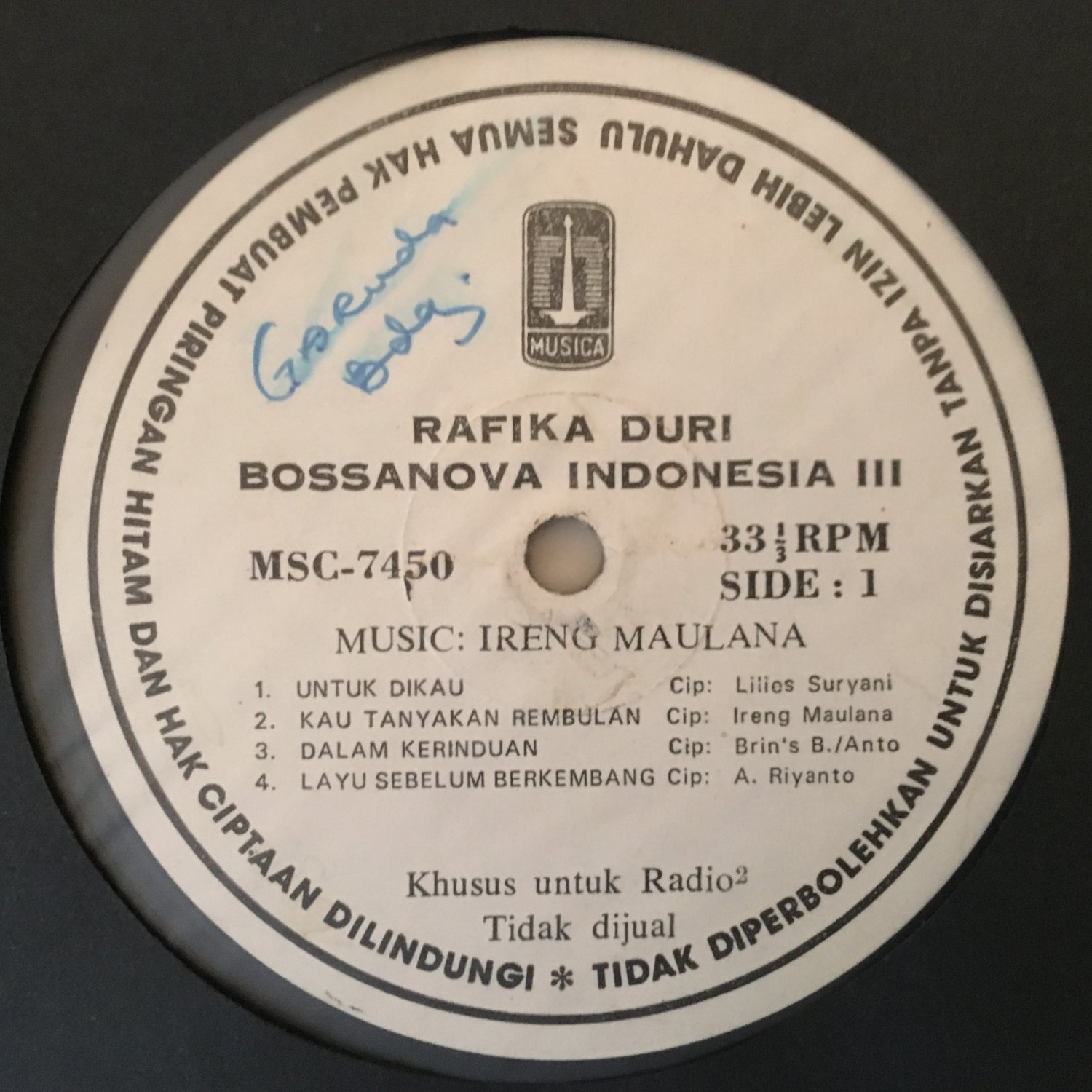 RAFIKA DURI LP Bossa Nova Indonesia vol. III IRENG MAULANA INDONESIA JAZZ BOSSA mp3 LISTEN