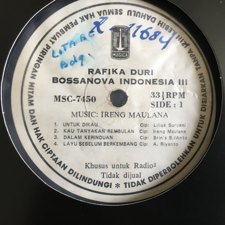 ***RAFIKA DURI LP Bossa Nova Indonesia vol. III IRENG MAULANA INDONESIA JAZZ BOSSA mp3 LISTEN