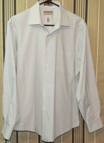 Van Heusen Men's Fitted White Green Grey Striped Dress Shirt Long Sleeve Large