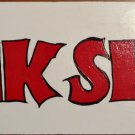 JUNK SHOP Custom Painted SIGN Red Letters / White Wood Design Thrift Flea Market