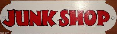 JUNK SHOP Custom Painted SIGN Red Letters / White Wood Design Thrift Flea Market