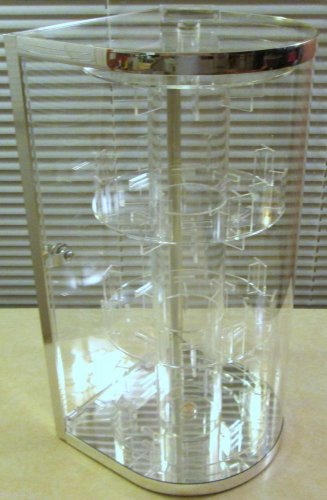Watch Curved Plexiglas Glass Countertop Display Case +Lock/Key Turns (Cracked)