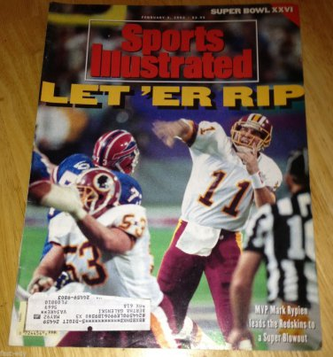 1992 Sports Illustrated Washington Redskins Super Bowl Win Mark Rypien Cover