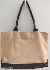 EDDIE BAUER Leather Canvas Travel/Beach/Shopping Large Tote Bag Tan Brown Green
