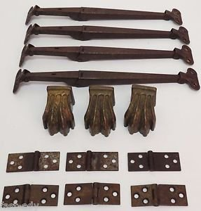 """11"""" Large Hinge x4 Clawfoot x3 Hinges x6 Vintage Hardware Cabinet Cupboard LOT"""