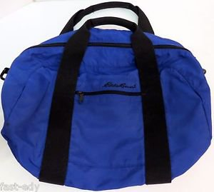 "Eddie Bauer Royal Navy Blue & Black Small/Medium Nylon Duffle Bag Vintage 20"""