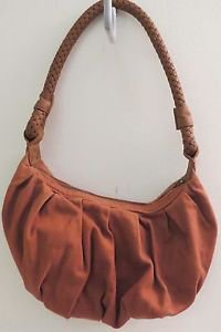 Old Navy Tan Suede Leather Shoulder Bag Purse Zip Closure 11x7 inches
