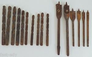 Lot x16 Drill Bits Miscellaneous Various Sizes Large Types Set