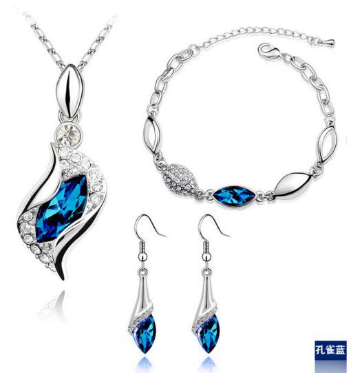 Jewelrycut Sterling Silver Crystal Rhionstone 3 Piece Pendant Set