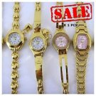 Water Lily Resistant Gold 4 PCS Stainless Steel Watch For Women