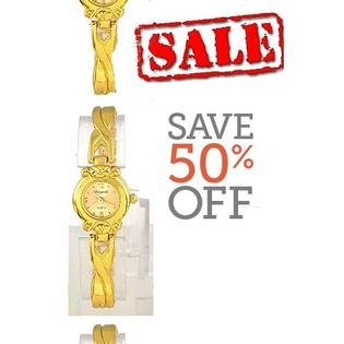 Water Resistant Golden Interlace Stainless Steel Watch