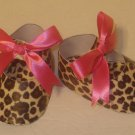 10 Leopard and Hot Pink Paper Shoe Favor Boxes