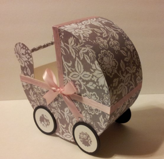 Gray and white damask baby carriage table centerpiece for Baby carriage decoration