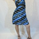 Trendy Stud V Neck Abstract Print Halter Dress (Size:Large)