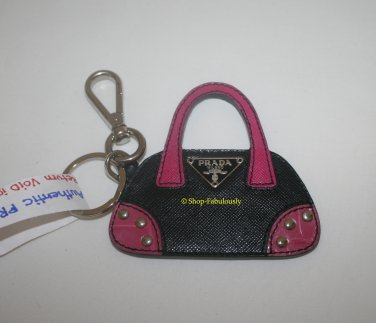 Authentic PRADA Black Pink Saffiano Leather Logo HANDBAG Keychain Keyfob RARE - FREE US Shipping