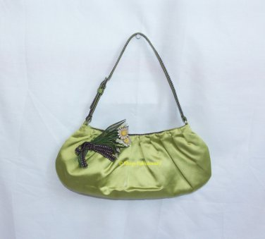 Authentic PRADA Green Silk Satin Leather Flowers Evening Bag Purse Clutch RARE - FREE US Shipping