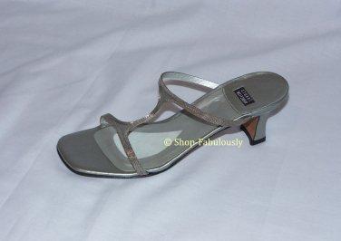 New Authentic STUART WEITZMAN Chrome Silver Leather Metal Slides Sandal Shoe 5.5 35.5 - FREE US Ship