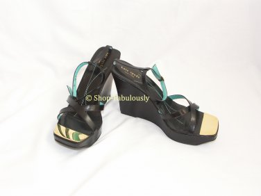 New Authentic KATE SPADE Black Leather Classic REGINA Wedge Platform Sandals Shoes 10 40 FREE Ship