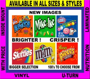 12 Laminated 2.5 x 2.5 Candy Gum Vending Label Vendstar