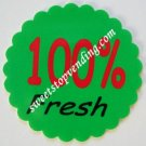 12 100% FRESH Stickers Bulk Vending Labels