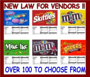 12  Laminated Bulk Vending Candy Labels with NUTRITION