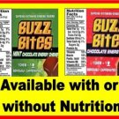 12  laminated Buzz Bites VENDING candy labels X