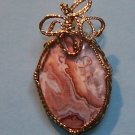 "PICTURE JASPER CABOCHON PENDANT 1 1/2"" x 1""  Gold Filled"